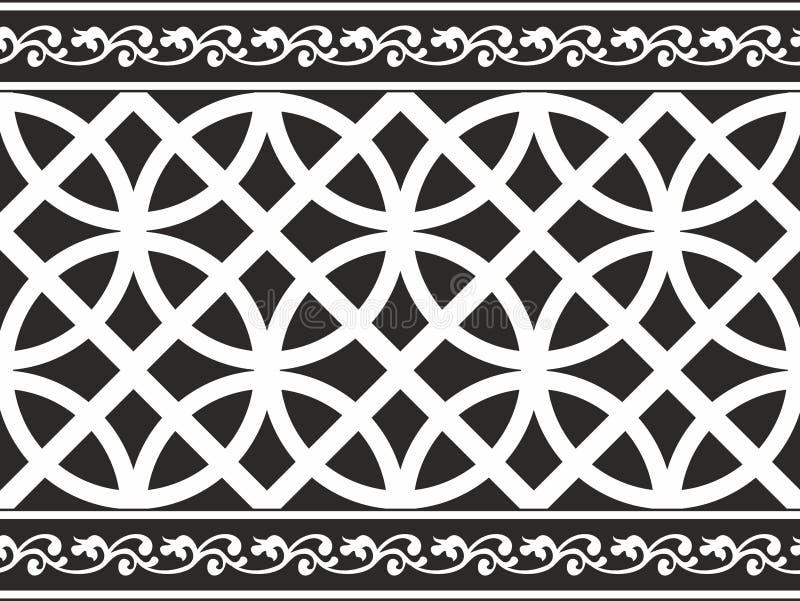 黑色边界花卉哥特式无缝的白色 向量例证