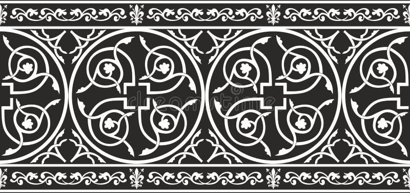 黑色边界花卉哥特式无缝的白色 皇族释放例证
