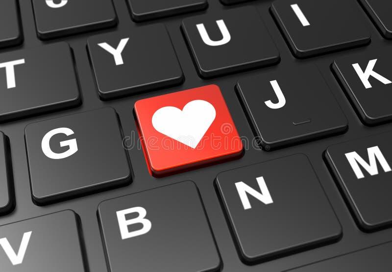 黑色键盘上带有心脏标志的红色按钮关闭 库存照片