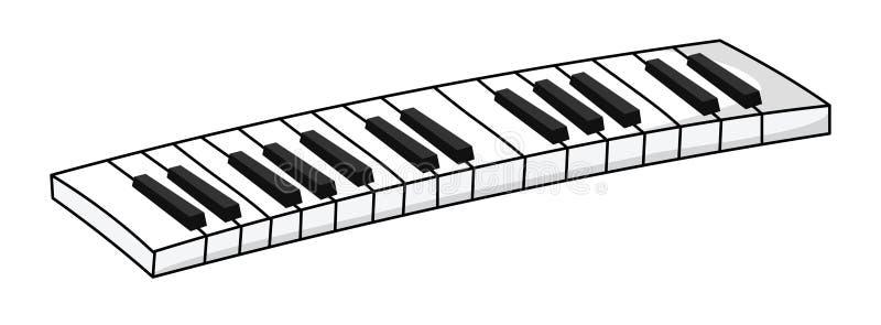 黑色键盘键钢琴行空白木 乐器的传染媒介例证 库存例证