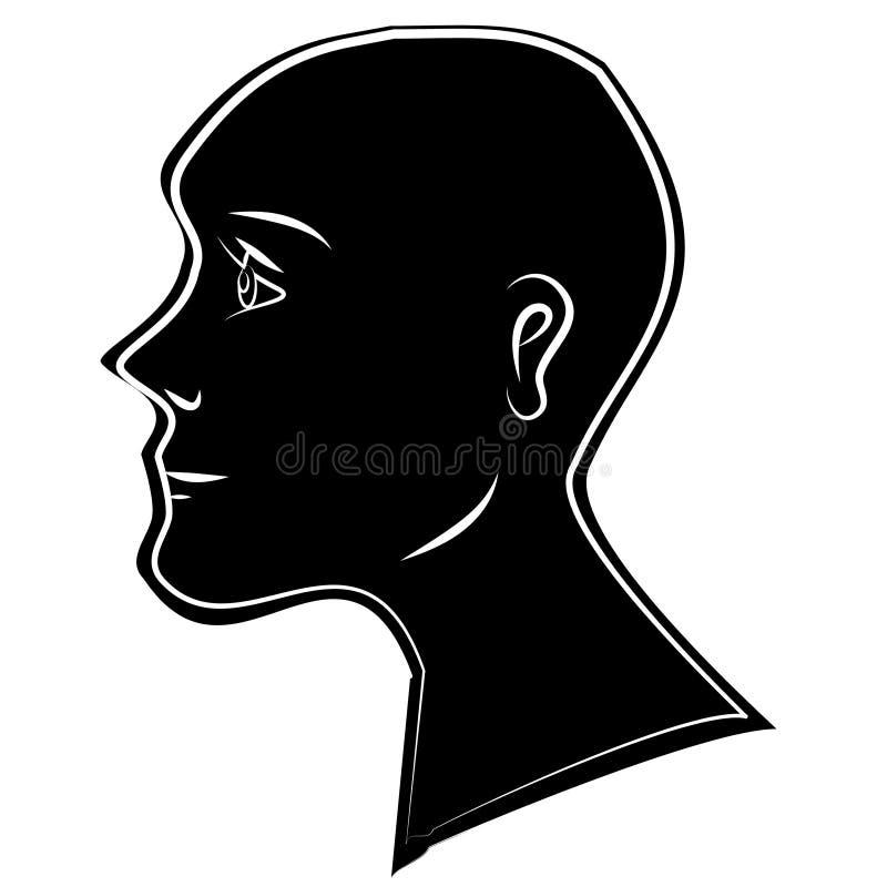 黑色顶头人力剪影 皇族释放例证