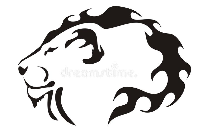 黑色顶头狮子白色 免版税库存照片