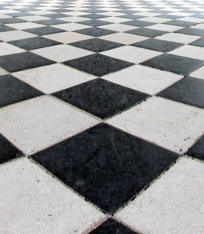黑色验查员楼层模式瓦片白色 免版税库存图片