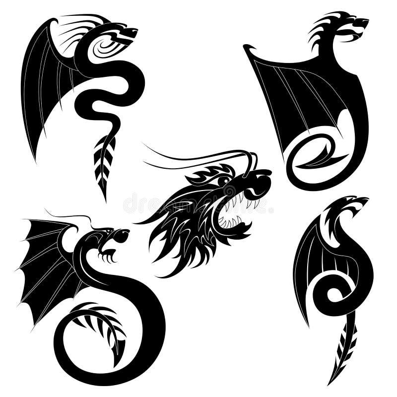 黑色龙集合纹身花刺 库存例证