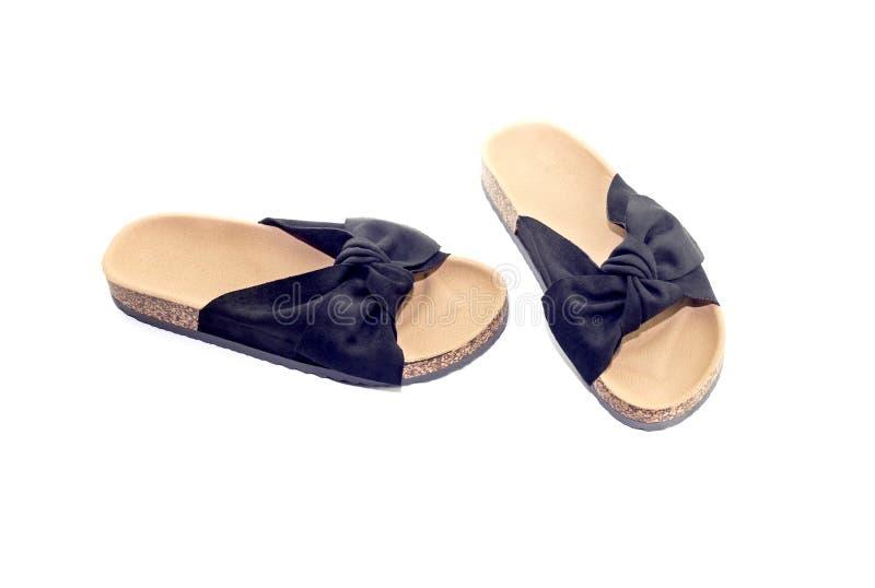 黑色,夏天鞋子 图库摄影