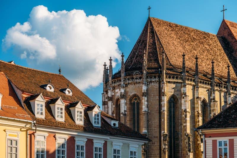 黑色brasov教会城市 免版税库存照片