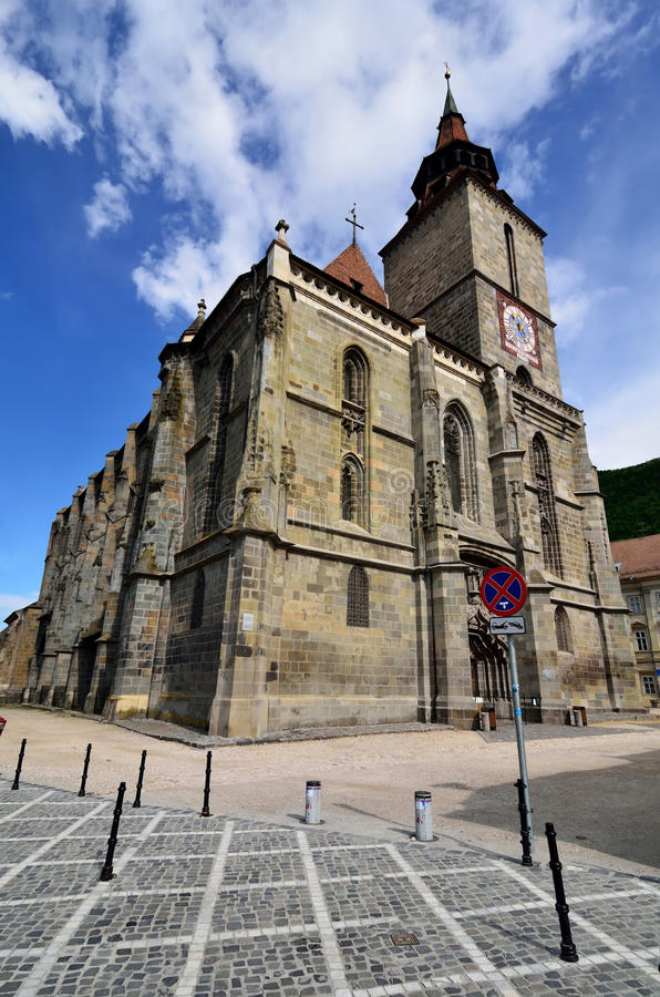 黑色brasov教会罗马尼亚transylvania 库存照片