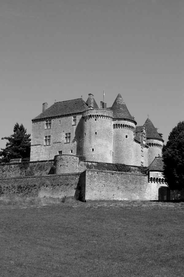 黑色chateau de fenelon照片白色 库存图片