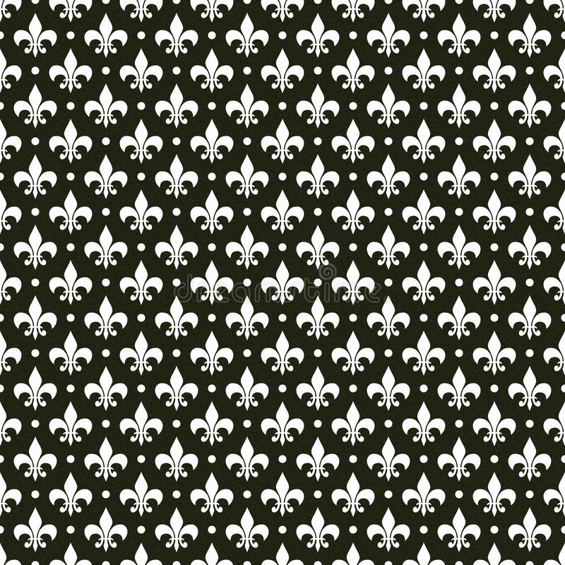 黑色de fleur法国lis模式向量白色 向量例证
