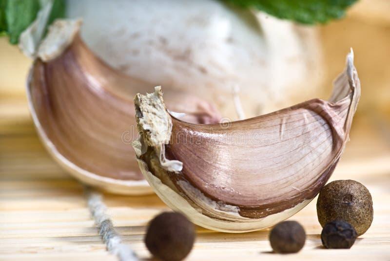 黑色garlics胡椒 库存照片