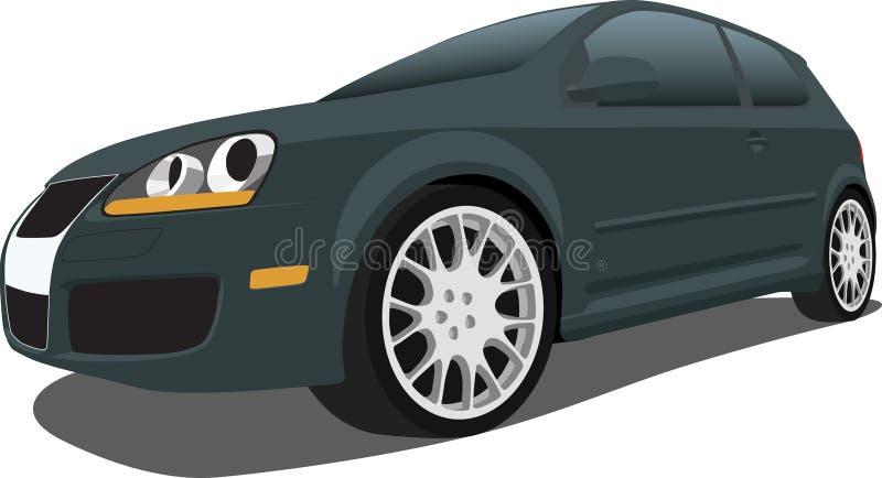 黑色gti斜背式的汽车vw 向量例证