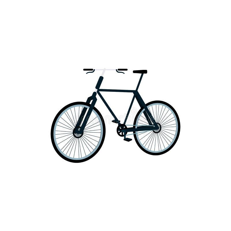 黑色urben从侧视图,在平的动画片样式的都市运输象的自行车 皇族释放例证