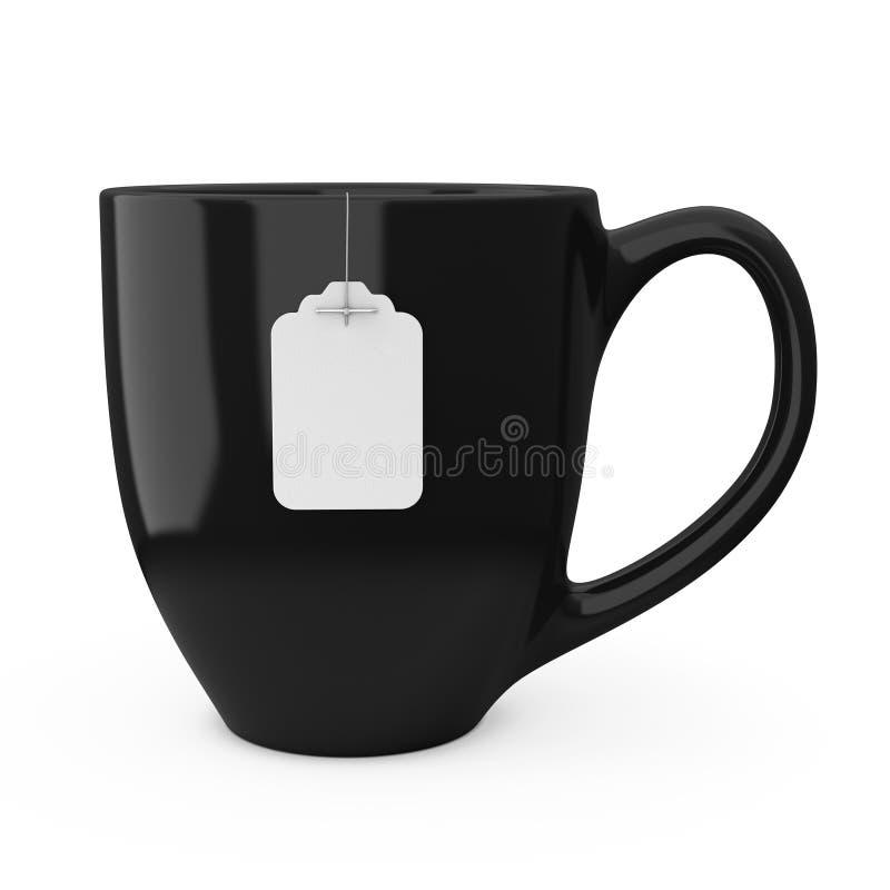 黑茶与空白的白色茶包标签大模型的 3D rende 向量例证