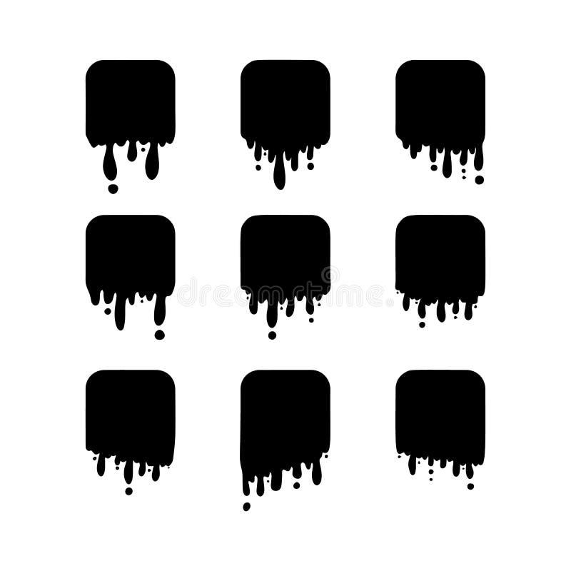 黑融解滴水或液体油漆下降隔绝 库存例证
