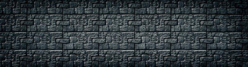 黑被仿造的瓦片墙壁宽纹理 黑暗的石工大背景 阴沉的哥特式背景 库存例证