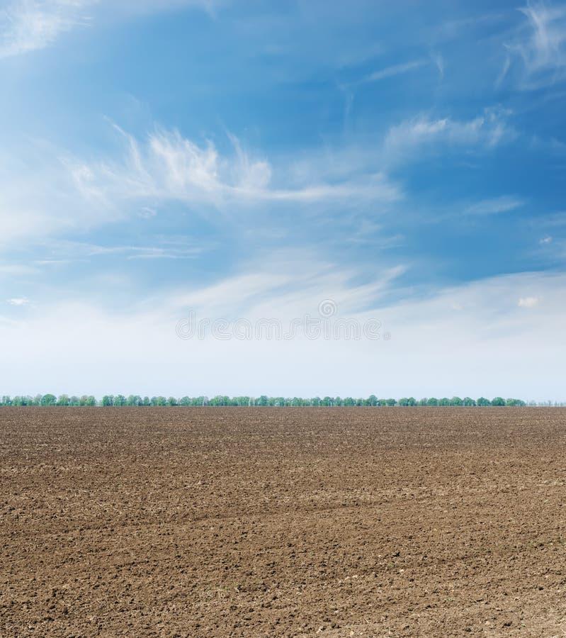 黑被犁的领域和云彩在天空蔚蓝 免版税库存照片