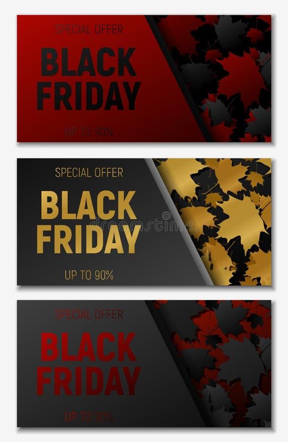 黑被设置的星期五销售网水平的横幅 黑色、金和rec飞行槭树离开 背景黑色红色 库存例证