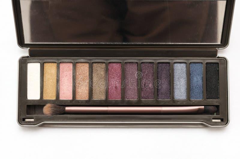 黑褐色眼影化妆调色板成套工具 免版税库存图片