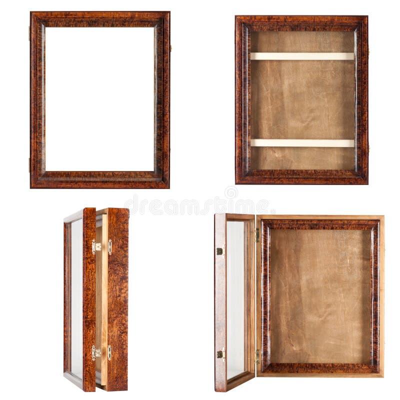 黑褐色自然颜色-一个空的被涂清漆的木制框架 库存图片