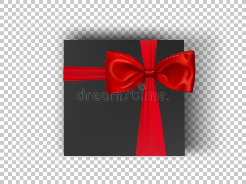 黑角规有红色丝带的在透明背景,顶视图的纸板箱和弓 设计产品的大模型箱子 库存例证
