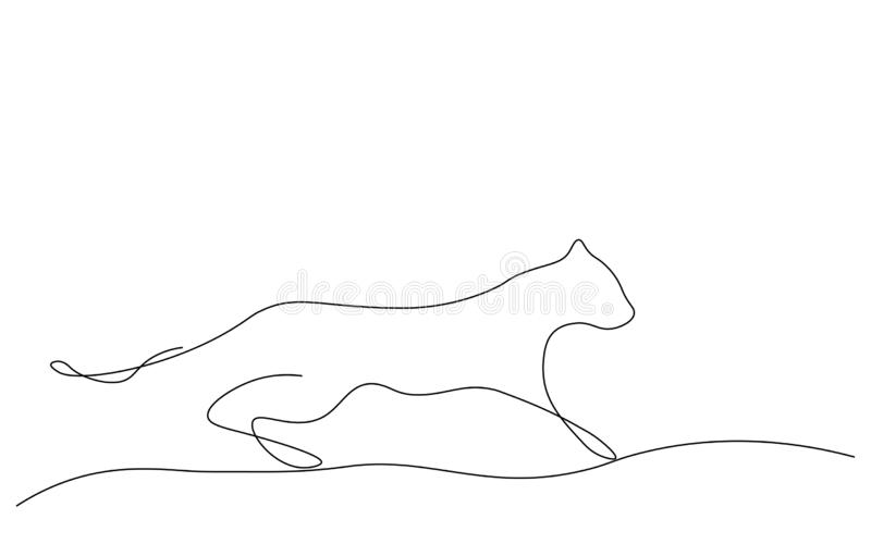 黑豹剪影野猫一线描传染媒介例证 皇族释放例证