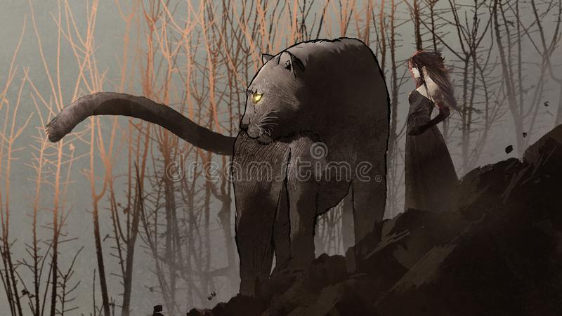 黑豹和黑暗的女王/王后 库存例证