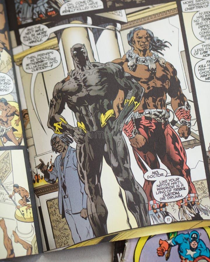 黑豹组织奇迹漫画超级英雄 免版税图库摄影