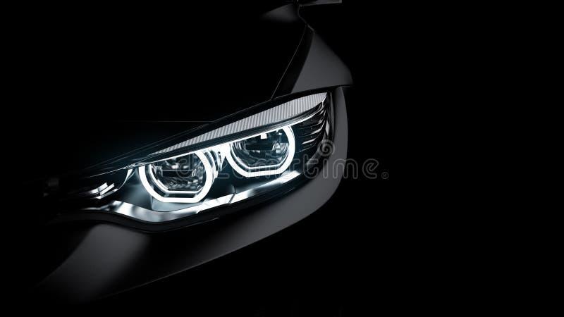 黑跑车车灯在黑色的 向量例证