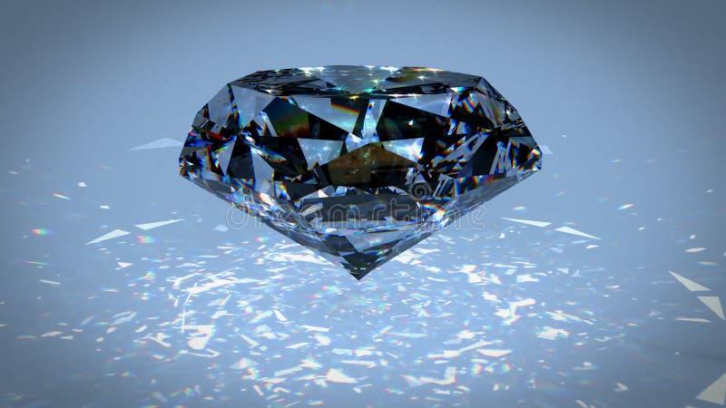黑金刚石分散作用3d例证 Carbonado多晶金刚石、石墨和无定形的碳 水晶 向量例证