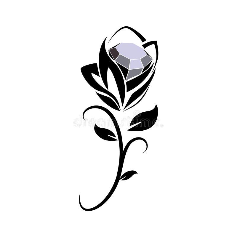 黑金刚石玫瑰色象 库存例证