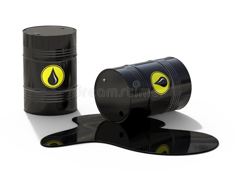 黑金属桶和溢出的油 污染的概念 生态和事务 3d例证 皇族释放例证