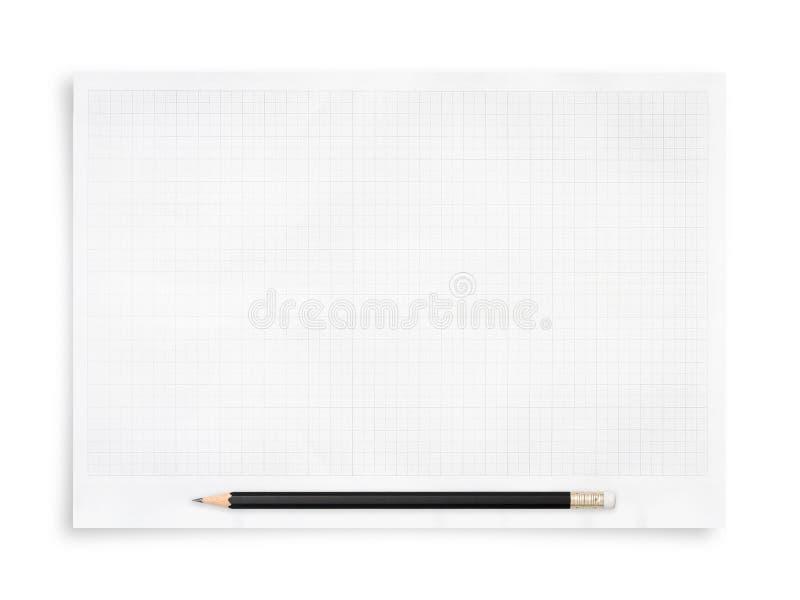 黑铅笔和在白色背景隔绝的白皮书板料 免版税库存照片