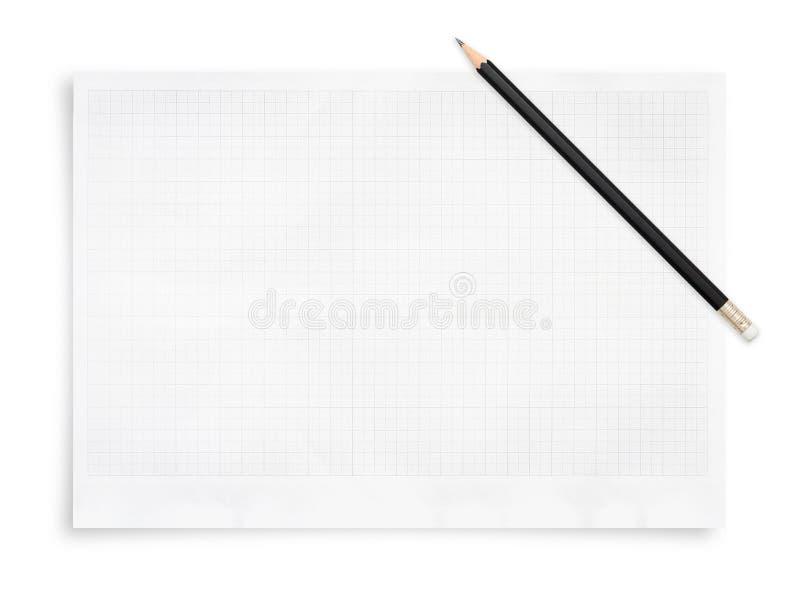 黑铅笔和在白色背景隔绝的白皮书板料 库存照片
