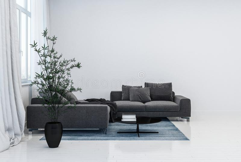 黑长沙发和植物罐在光滑的绝尘室 向量例证