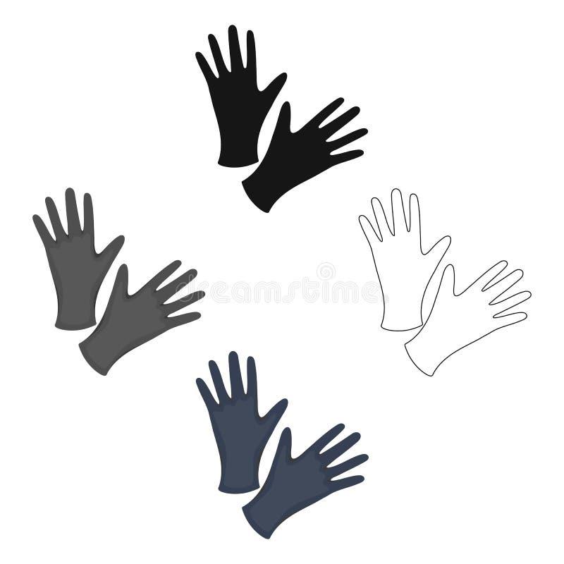 黑防护橡胶手套象动画片,黑 从大演播室动画片的唯一纹身花刺象,黑 皇族释放例证