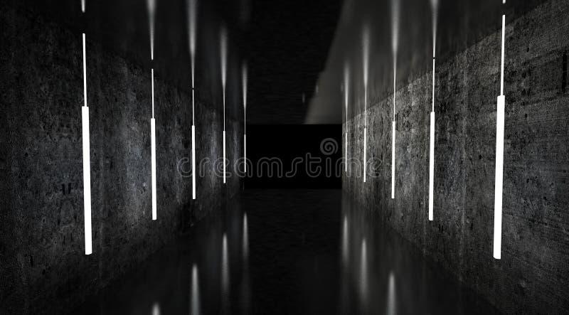 黑隧道,黑光泽,垂悬从天花板的霓虹灯,反映在墙壁和地板 走廊的夜视图 向量例证