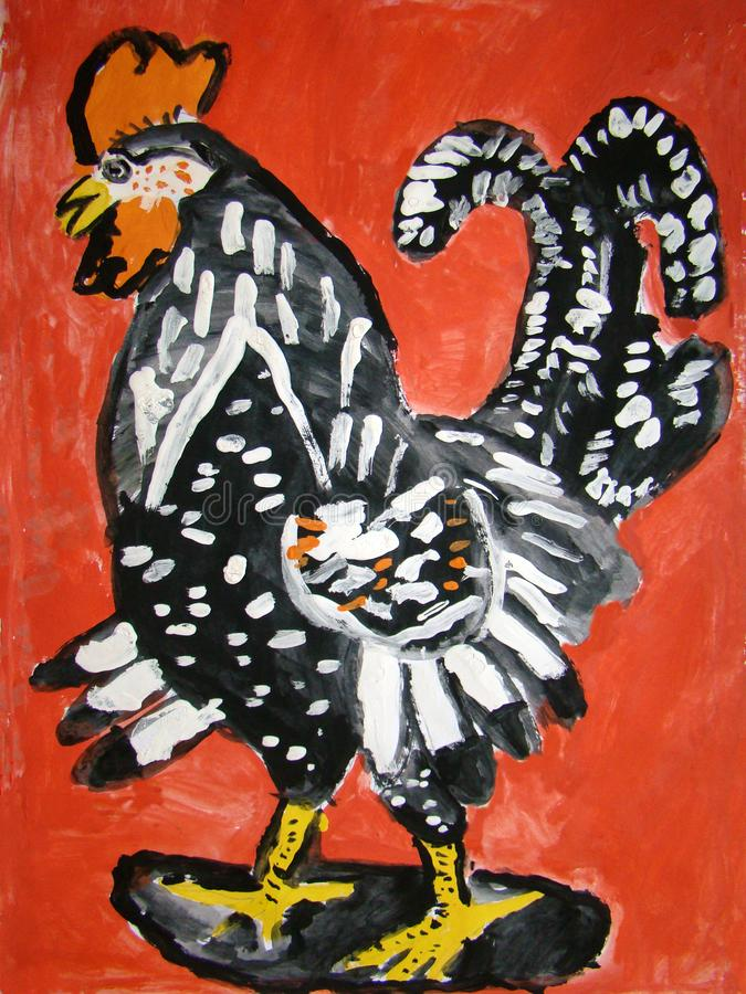 黑雄鸡-孩子做的树胶水彩画颜料绘画 库存例证