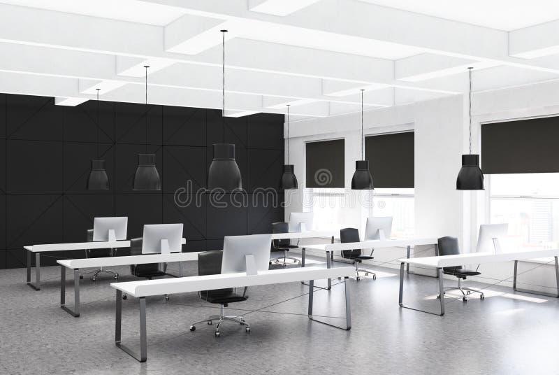 黑露天场所办公室角落,书桌行  皇族释放例证