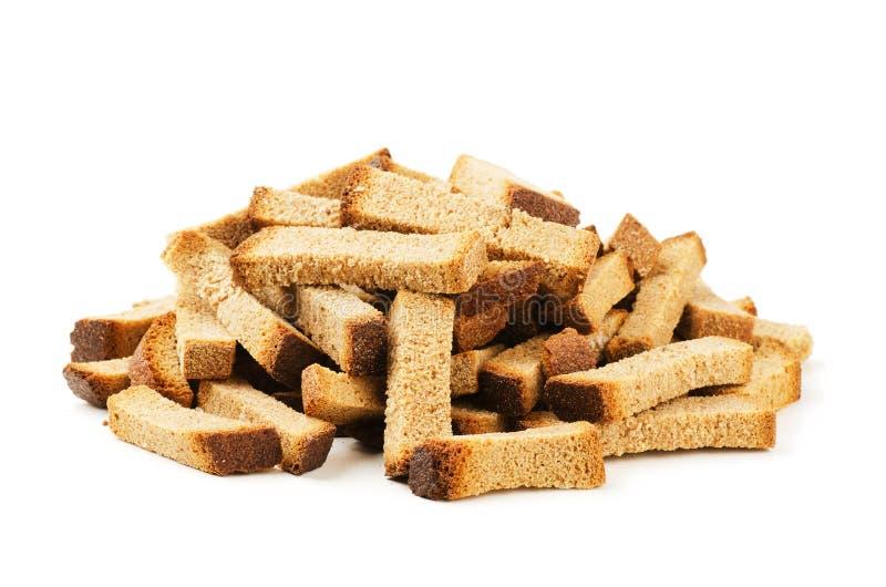 黑麦面包油煎方型小面包片 库存图片