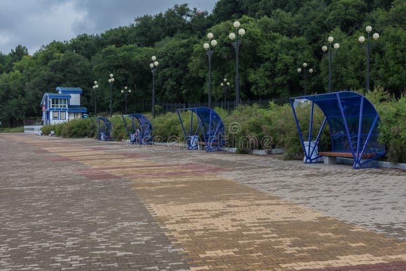 黑龙江堤防在哈巴罗夫斯克 库存照片