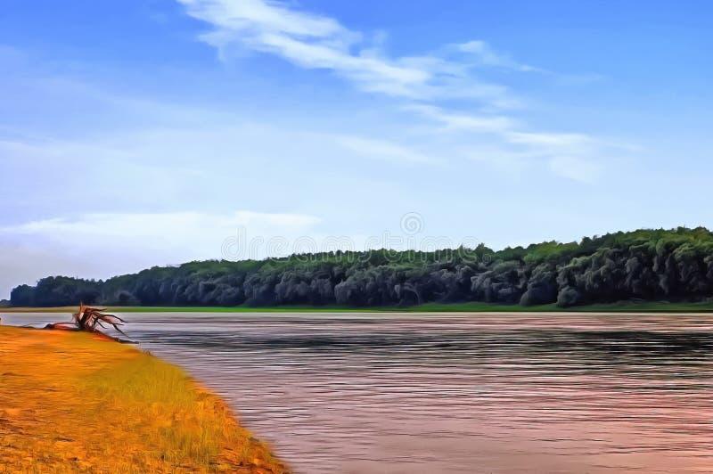 黑龙江的巨大有美丽如画的沙子和绿色海滩的 皇族释放例证