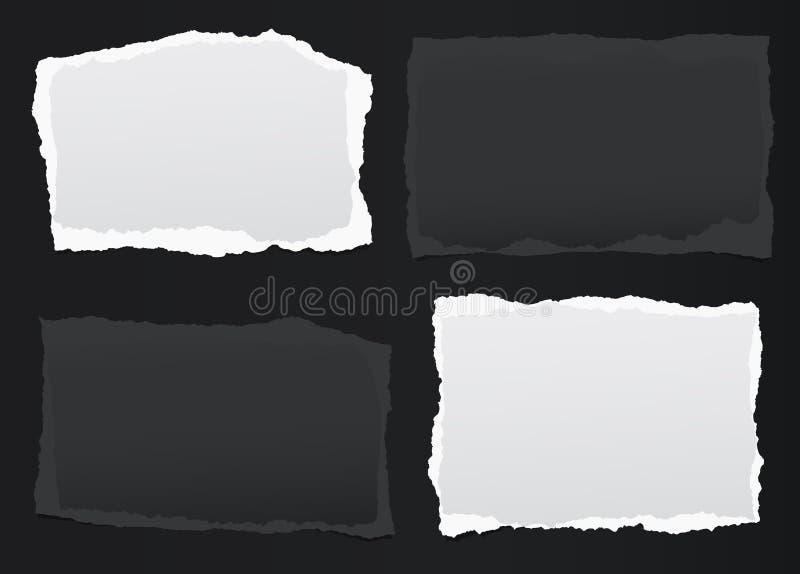 黑,白色笔记,与被撕毁的边缘的笔记本纸片断在黑backgroud黏附了 也corel凹道例证向量 皇族释放例证