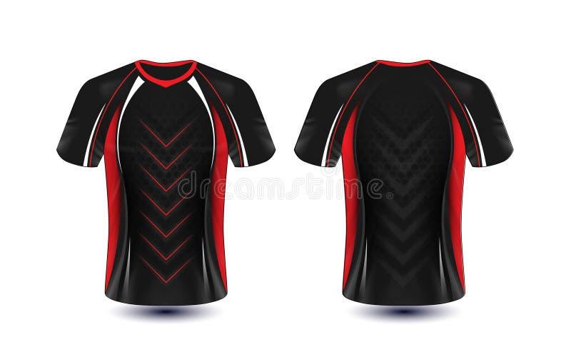 黑,红色和白色布局e体育T恤杉设计模板 库存例证