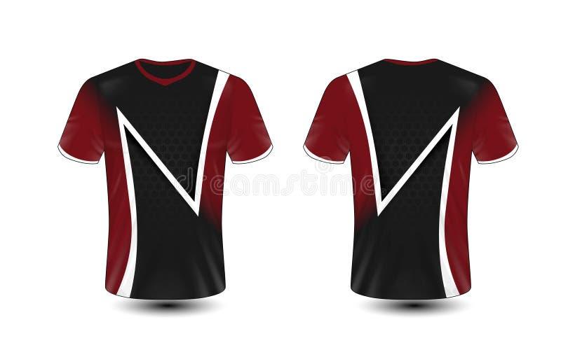 黑,红色和白色布局e体育T恤杉设计模板 皇族释放例证