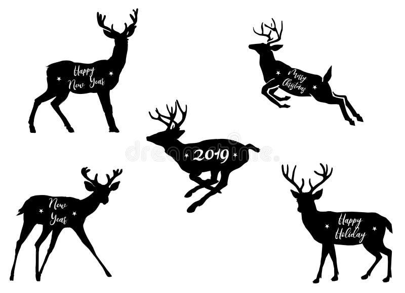 黑&白色剪影圣诞节鹿集合剪影用不同的姿势 皇族释放例证