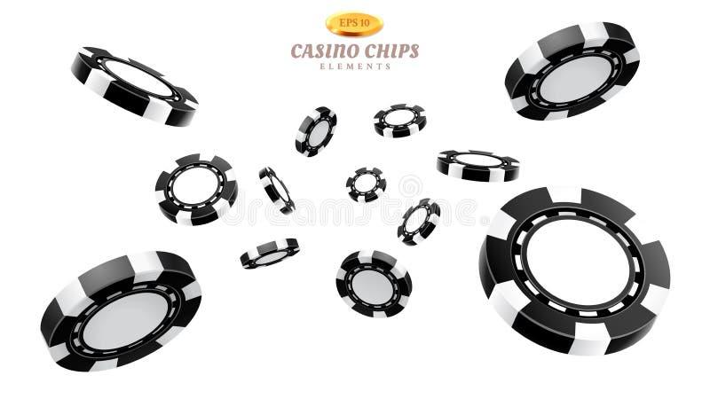 黑3d赌博娱乐场芯片或飞行现实象征 库存例证