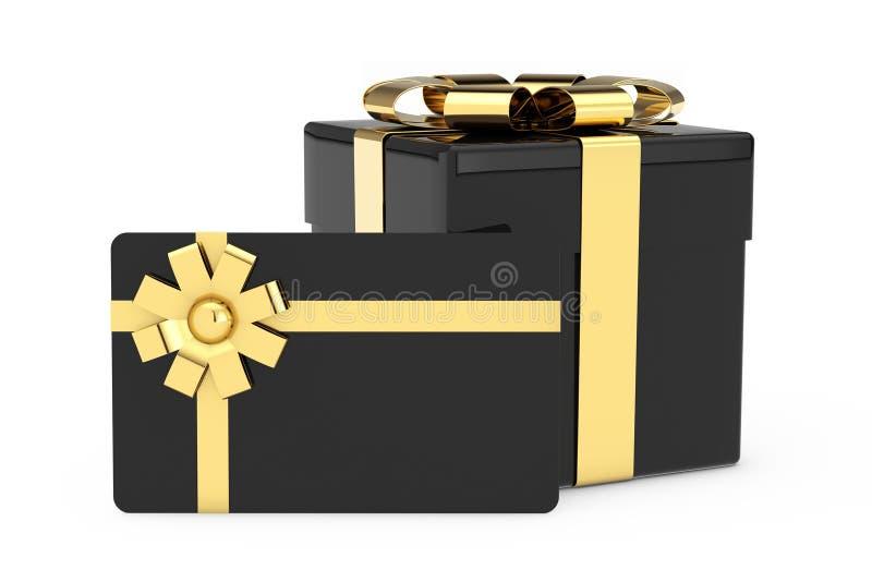 黑Cardoard礼物盒、黑礼品券与金黄丝带和弓 3d?? 库存例证