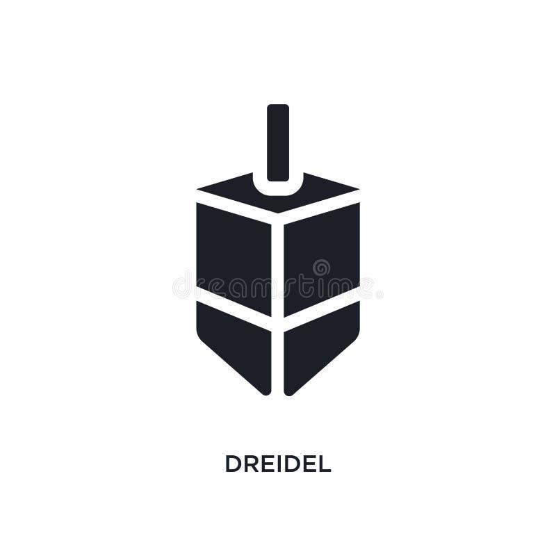 黑dreidel被隔绝的传染媒介象 从宗教概念传染媒介象的简单的元素例证 dreidel编辑可能的商标标志 向量例证