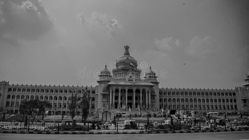 黑nd白色vidhana soudha 免版税库存照片