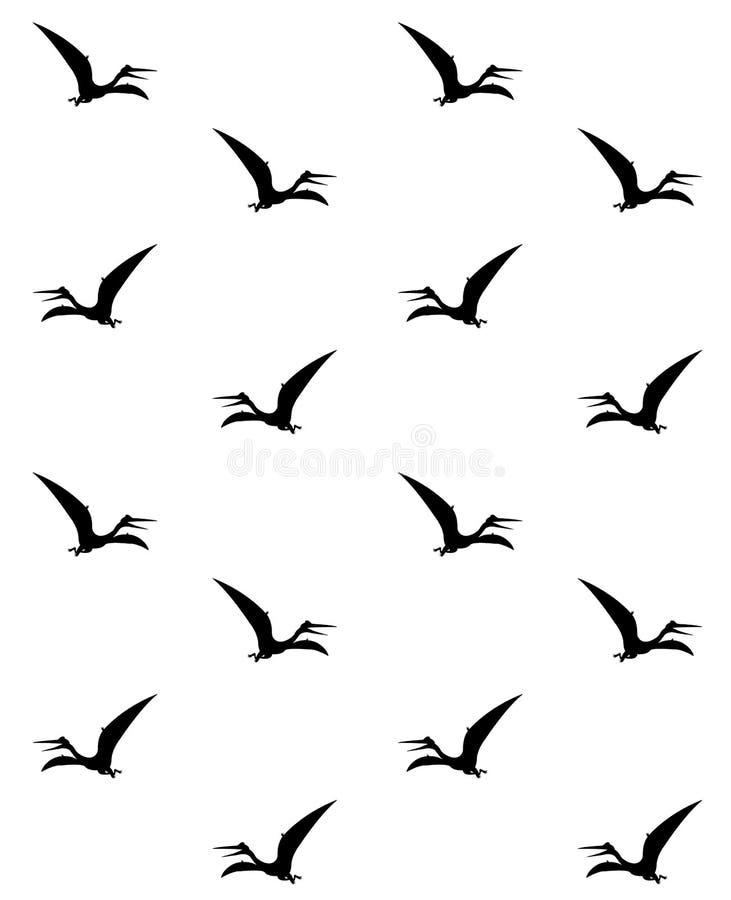 黑Pteranodon剪影无缝的样式 库存例证